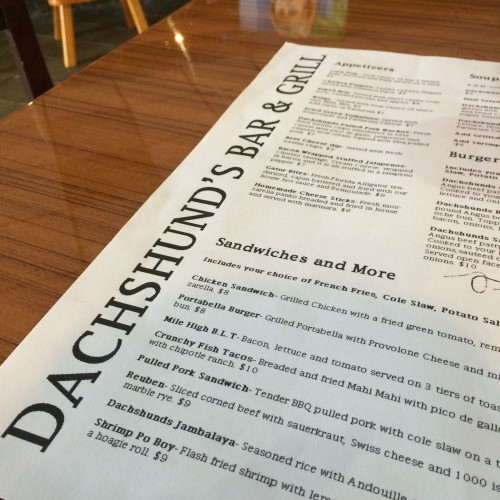 Dachshund's Bar & Grill Menu